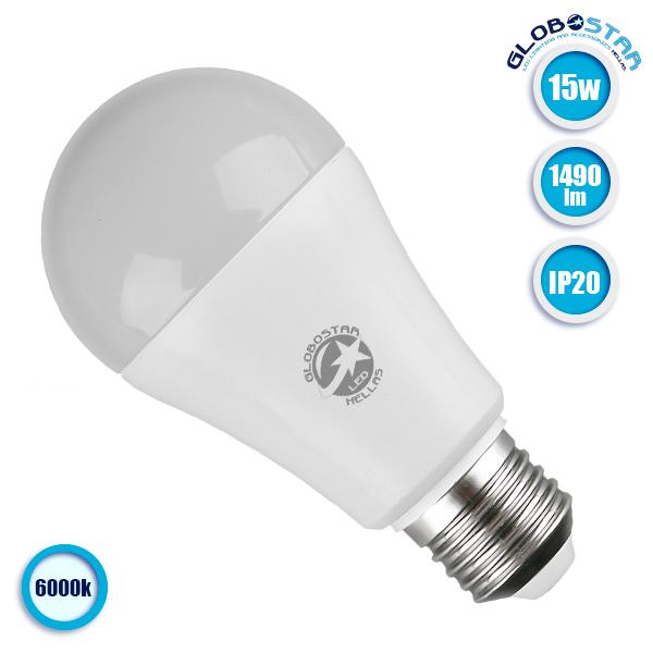 Γλόμπος LED A60 με βάση E27 15 Watt 230v Ψυχρό GloboStar 01694