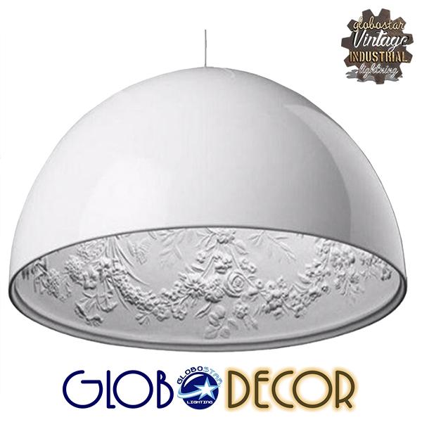 Κρεμαστό Φωτιστικό Οροφής Serenia White Globostar 1XE27 με Γύψινο Ανάγλυφο Εσωτερικό Σχέδιο