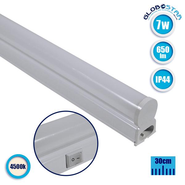 T5 Φωτιστικό LED 7 Watt 230v 30cm Φυσικό Λευκό 4500k IP44 GloboStar 54001