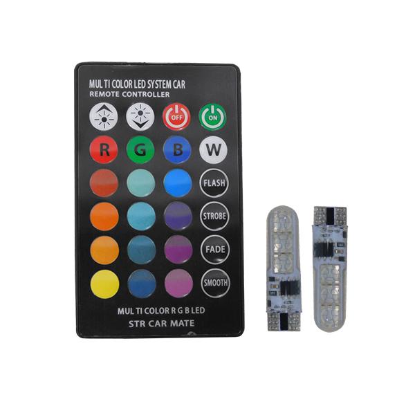 Σετ 2 Τεμάχια T10 6 SMD 5050 RGB με Ασύρματο Χειριστήριο GloboStar 54345