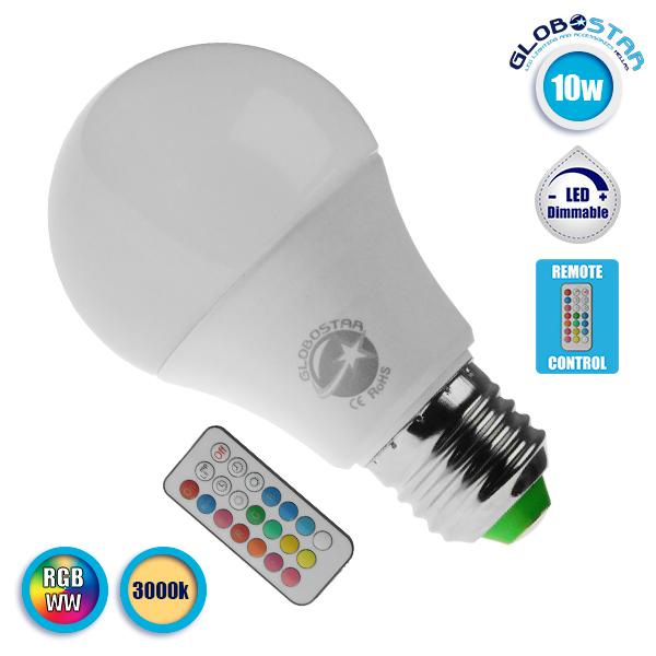 Λαμπτήρας LED E27 A60 Γλόμπος 10 Watt 220 Volt RGB & Θερμό Λευκό με Ασύρματο Χειριστήριο GloboStar 88969