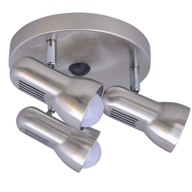 ACA LED Spot Τριπλό Οροφής Στρογγυλή Βάση E14 R50 Nickel