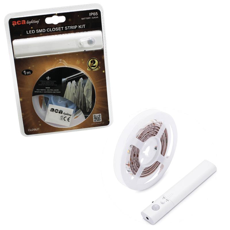 Aca Ταινία LED Ντουλάπας SMD 1M IP65 4xAAA Natural White