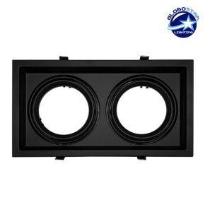Χωνευτή Τετράγωνη Διπλή Βάση για Spot AR111 Μαύρη Κινούμενη σε 2 άξονες