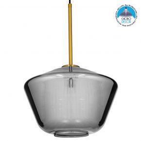 GloboStar® AMARIS 00873 Μοντέρνο Κρεμαστό Φωτιστικό Οροφής Μονόφωτο Γυάλινο Φιμέ Νίκελ Φ30 x 22CM