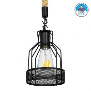 GloboStar® MASON 00881 Vintage Industrial Κρεμαστό Φωτιστικό Οροφής Μονόφωτο Μαύρο με Μπεζ Σχοινί Φ15 x Y24cm