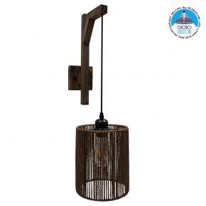 GloboStar® ARTI 00887 Vintage Φωτιστικό Τοίχου Απλίκα Μονόφωτο Καφέ Σκούρο Ξύλινο με Σχοινί και Καπέλο Φ18 x Μ18 x Π30 x Υ35-75cm