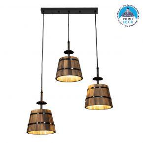 GloboStar® CEBU 00889 ΣΕΤ Vintage Κρεμαστό Φωτιστικό Οροφής Τρίφωτο Μεταλλικό Ξύλινο Μ55.5 x Π18.5 x Y210cm