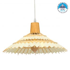 GloboStar VENTALIA 00897 Vintage Κρεμαστό Φωτιστικό Οροφής Μονόφωτο Μπεζ Ξύλινο Bamboo Φ40 x Y22cm