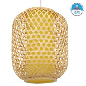 Vintage Κρεμαστό Φωτιστικό Οροφής Μονόφωτο Καφέ Ξύλινο Bamboo Φ30cm GloboStar MAURITIUS Φ30cm 00899