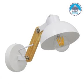 Μοντέρνο Φωτιστικό Τοίχου Απλίκα Μονόφωτο Λευκό με Ξύλινο Βραχίονα Μεταλλικό Φ15 GloboStar GRANT WHITE 00903