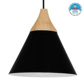 Μοντέρνο Κρεμαστό Φωτιστικό Οροφής Μονόφωτο Μαύρο Μεταλλικό με Ξύλο Καμπάνα Φ23cm GloboStar SHADE BLACK 00906