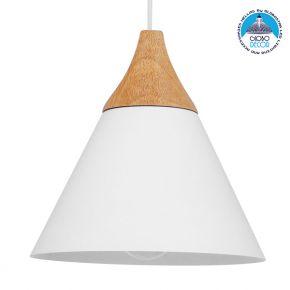 Μοντέρνο Κρεμαστό Φωτιστικό Οροφής Μονόφωτο Λευκό Μεταλλικό με Ξύλο Καμπάνα Φ23cm GloboStar SHADE WHITE 00907