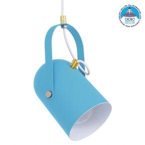 Μοντέρνο Κρεμαστό Φωτιστικό Οροφής Μονόφωτο Θαλασσί Ματ με Χρυσές Λεπτομέρειες Μεταλλικό Φ12cm GloboStar HAZEL SEA BLUE 00927