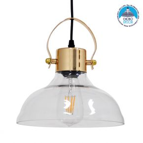 Vintage Κρεμαστό Φωτιστικό Οροφής Μονόφωτο Γυάλινο Καμπάνα με Χρυσό Ντουί Φ24cm GloboStar JAVER Φ24cm 00933