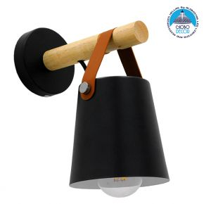 Μοντέρνο Φωτιστικό Τοίχου Απλίκα Μονόφωτο Μαύρο με Ξύλο και Δερμάτινο Λουράκι Μεταλλικό Ø13xΜ13xΠ19xY14cm GloboStar AMY BLACK 00947