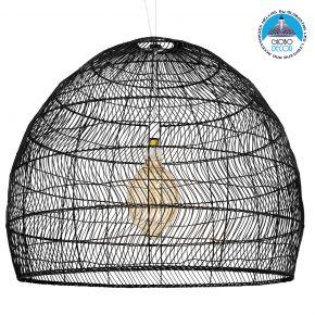GloboStar® MALIBU 00966 Vintage Κρεμαστό Φωτιστικό Οροφής Μονόφωτο Μαύρο Ξύλινο Bamboo Φ97 x Y86cm