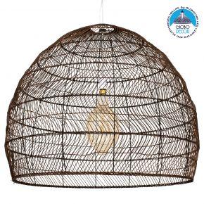 GloboStar® MALIBU 00967 Vintage Κρεμαστό Φωτιστικό Οροφής Μονόφωτο Λευκό Ξύλινο Bamboo Φ97 x Y86cm