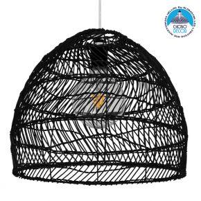 Vintage Κρεμαστό Φωτιστικό Οροφής Μονόφωτο Μαύρο Ξύλινο Bamboo Φ40cm GloboStar COMORES BLACK 00969