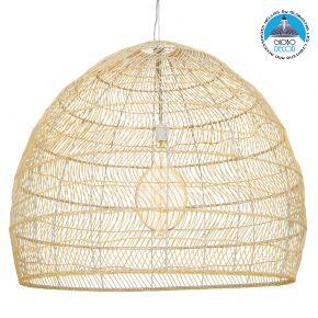 GloboStar® MALIBU 00974 Vintage Κρεμαστό Φωτιστικό Οροφής Μονόφωτο Μπεζ Ξύλινο Bamboo Φ97 x Y86cm