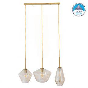 Μοντέρνο Κρεμαστό Φωτιστικό Οροφής Τρίφωτο Μελί Χρυσό με Γυαλί GloboStar AGATHA 00977
