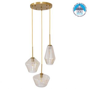 Μοντέρνο Κρεμαστό Φωτιστικό Οροφής Τρίφωτο Μελί Χρυσό με Γυαλί Φ50 GloboStar AGATHA 00978