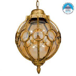Vintage Industrial Κρεμαστό Φωτιστικό Οροφής Μονόφωτο Μπρονζέ Χρυσό με Μελί Γυαλί Φ28 GloboStar ETOILE 00987