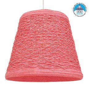 Vintage Κρεμαστό Φωτιστικό Οροφής Μονόφωτο Ροζ Ξύλινο Ψάθινο Rattan Φ32 GloboStar PLAYROOM PINK 00996