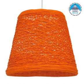 GloboStar® PLAYROOM 00997 Vintage Κρεμαστό Φωτιστικό Οροφής Μονόφωτο Πορτοκαλί Ξύλινο Ψάθινο Rattan Φ32 x Υ27cm