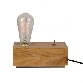 VK Επιτραπέζια Ξύλινη Βάση Φωτιστικό με Καλώδιο & Διακόπτη