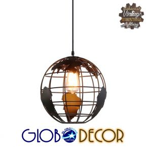 Vintage Industrial Κρεμαστό Φωτιστικό Οροφής World 1XE27 Globostar