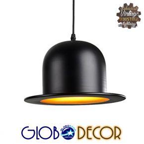 GloboStar® CHARLO 01214 Vintage Κρεμαστό Φωτιστικό Οροφής Μονόφωτο Μαύρο Μεταλλικό Καμπάνα Φ26 x Y17cm