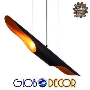 Μοντέρνο Κρεμαστό Φωτιστικό Οροφής Δίφωτο Μαύρο Μεταλλικό GloboStar ESTERINA 01304