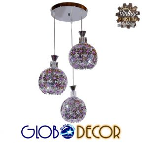 Μοντέρνο Κρεμαστό Φωτιστικό Οροφής Τρίφωτο Ασημί με Κρύσταλλα GloboStar BOUQUET 01248