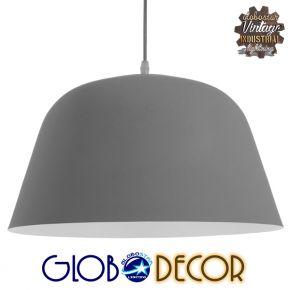 GloboStar® WESTVALE 01282 Μοντέρνο Κρεμαστό Φωτιστικό Οροφής Μονόφωτο Γκρί  Μεταλλικό Καμπάνα Φ40 x Y24cm