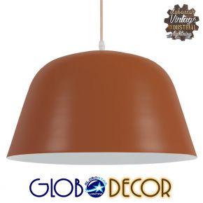 Μοντέρνο Κρεμαστό Φωτιστικό Οροφής Μονόφωτο Κόκκινο Κεραμιδί Μεταλλικό Καμπάνα Φ40 GloboStar NORTHVALE 01283