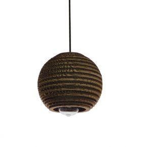 GloboStar® SANTORINI 01288 Vintage Κρεμαστό Φωτιστικό Οροφής Μονόφωτο 3D από Επεξεργασμένο Σκληρό Καφέ Χαρτόνι Καμπάνα Φ20 x Y18cm