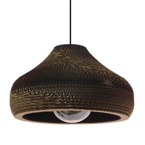 Vintage Κρεμαστό Φωτιστικό Οροφής Μονόφωτο 3D από Επεξεργασμένο Σκληρό Καφέ Χαρτόνι Καμπάνα Φ35 GloboStar MILOS 01291