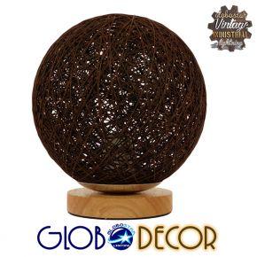 Μοντέρνο Επιτραπέζιο Φωτιστικό Πορτατίφ Μονόφωτο Καφέ Σκούρο Ξύλινο Rattan Φ20 GloboStar WESTON 01337