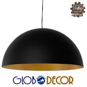 Μοντέρνο Κρεμαστό Φωτιστικό Οροφής Μονόφωτο Μαύρο Χρυσό Μεταλλικό Καμπάνα Φ60 GloboStar DIADEMA 01342