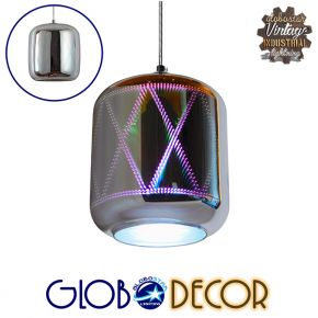 Μοντέρνο Κρεμαστό Φωτιστικό Οροφής Μονόφωτο Γυάλινο Νίκελ 3D Φ18 GloboStar NEPTUNE 01353