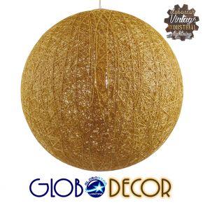 Vintage Κρεμαστό Φωτιστικό Οροφής Μονόφωτο Μπεζ Χρυσό Ξύλινο Rattan Φ60 GloboStar LOFT 01361