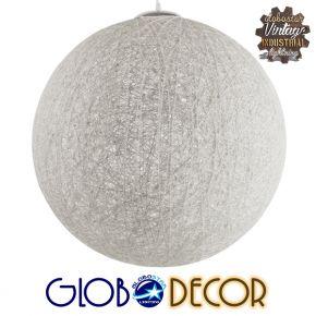 Vintage Κρεμαστό Φωτιστικό Οροφής Μονόφωτο Λευκό Ξύλινο Rattan Φ60 GloboStar KETTLE 01363