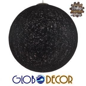 Vintage Κρεμαστό Φωτιστικό Οροφής Μονόφωτο Μαύρο Ξύλινο Rattan Φ60 GloboStar TERELL 01364