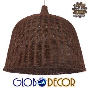 Vintage Κρεμαστό Φωτιστικό Οροφής Μονόφωτο Καφέ Ξύλινο Rattan Φ60 GloboStar ARGENTO 01369