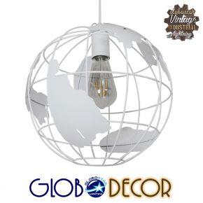 Vintage Industrial Κρεμαστό Φωτιστικό Οροφής Μονόφωτο Λευκό Μεταλλικό Πλέγμα Φ30 GloboStar LAND 01382