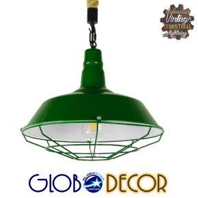 GloboStar® ELEDA 01408 Vintage Industrial Κρεμαστό Φωτιστικό Οροφής Μονόφωτο Πράσινο Λευκό Μεταλλικό Καμπάνα Πλέγμα με Μπεζ Σχοινί Φ36 x Υ31cm