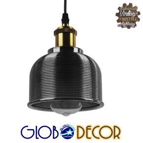 GloboStar® SEGRETO 01449 Vintage Κρεμαστό Φωτιστικό Οροφής Μονόφωτο Μαύρο Γυάλινο Διάφανο Καμπάνα με Χρυσό Ντουί Φ14 x Υ18cm