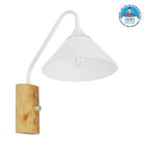 Μοντέρνο Φωτιστικό Τοίχου Απλίκα Μονόφωτο Λευκό με Ξύλινη Βάση Μεταλλικό Φ18 GloboStar ALESSIA WHITE 01458