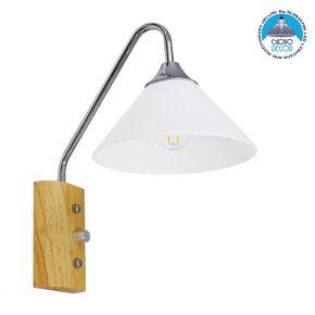 Μοντέρνο Φωτιστικό Τοίχου Απλίκα Μονόφωτο Ασημί Νίκελ Λευκό με Ξύλινη Βάση Μεταλλικό Φ18 GloboStar ALESSIA CHROME 01459